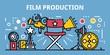 Film production banner. Outline illustration of film production vector banner for web design