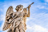 Statue of an Angel with the Lance by Domenico Guidi on Sant'Angelo Bridge in Rome, Italy