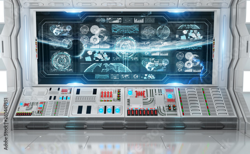 White spaceship interior with control panel digital screens 3D rendering
