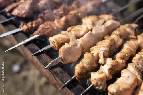 canvas print picture Shish kebab on skewers is fried on a brazier