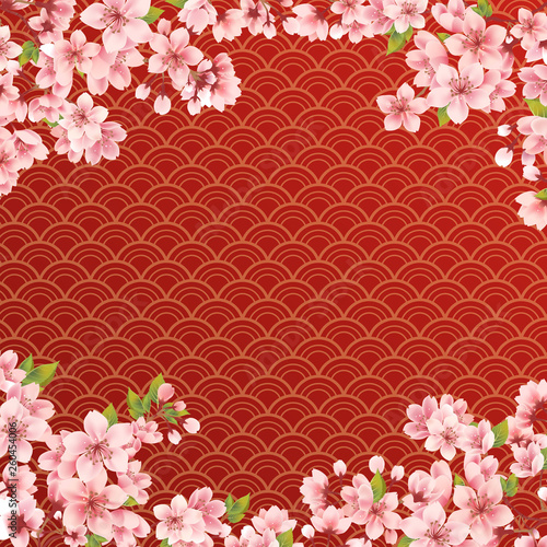 Sakura on wave red background © bannosuke