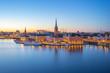 Leinwandbild Motiv Night view of Stockholm city skyline old town in Sweden