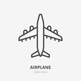 Airplane flat line icon. Plane vector illustration. Thin sign for jet, air craft cargo shipping, airlines logo