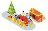 isometric illustration Christmas celebration with family, vector illustration - Vector