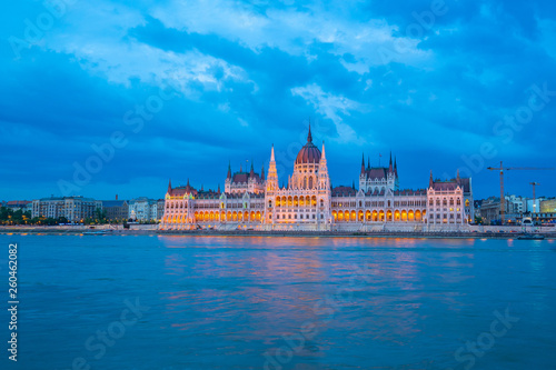 fototapeta na ścianę Budapest Parliament Building with view of Danube River in Hungary