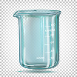 Сhemical beaker with measured divisions. Cylindrical container with a flat bottom. Vector illustration on a transparent background.
