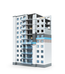 Building. Concept of building a residential house, the scheme of warming the facade of a high-rise building. 3d illustration