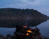 Campfire besides a lake and trees in the background