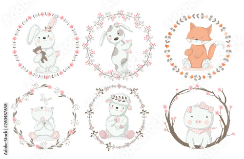 Cute baby animal with border cartoon hand drawn style,for printing,card, t shirt,banner,product.vector illustration