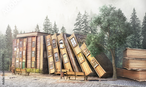 Leinwanddruck Bild Library concept. Fantasy literature. Stack of old books as street of the city. 3d illustration