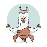 Cute llama doing yoga. Vector isolated