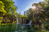 Waterfall in sunny summer day, Plitvice Lakes National Park, Croatia