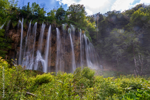 Big stunning waterfall in Plitvice Lakes National Park, Croatia