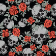 Seamless Vector Patterns With Grunge  Human Skulls and Vintage Roses - 260478870