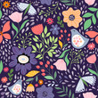 seamless floral pattern with flowers and birds - 260479407