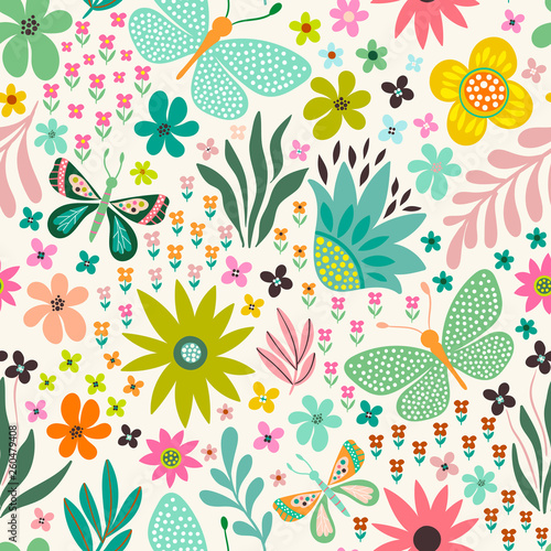 seamless floral pattern with flowers and butterflies - 260479408