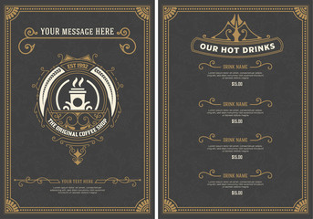 Coffee Shop Menu template. Vintage style