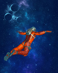 Astronaut floating in outer space with stars and planets. 3D rendering.