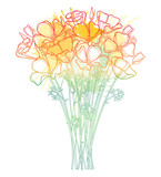 Bouquet with outline orange California poppy flower or Eschscholzia, leaf and bud isolated on white background.
