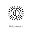 outline brightness vector icon. isolated black simple line element illustration from user interface concept. editable vector stroke brightness icon on white background