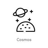 Fototapeta Fototapety kosmos - outline cosmos vector icon. isolated black simple line element illustration from weather concept. editable vector stroke cosmos icon on white background © zaurrahimov