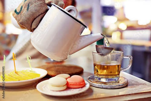 English tea in a cafe / cup and kettle with five o'clock tea © kichigin19