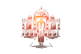 India, country, travel, religion, building concept. Hand drawn isolated vector.