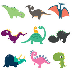 Funny cartoon dinosaurs collection. Vector illustration © ARNICA