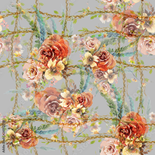 Watercolor painting of leaf and flowers, seamless pattern on gray background - 260512258