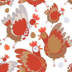Easter chicken on white background pattern © Юлия Баслык