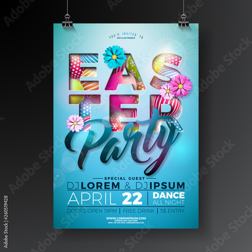 Vector Easter Party Flyer Design with painted eggs, spring flower and typography elements on light blue background. Spring holiday celebration poster illustration template.