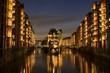 Leinwandbild Motiv Speicherstadt of Hamburg, Germany at night