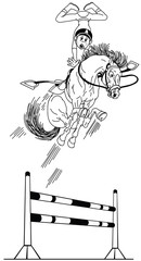 cartoon high jumping horse . Young rider training his pony to jump over obstacle. Funny equestrian sport . Black and white outline vector illustration