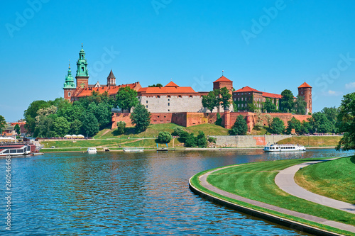Wawel Hill and the architectural complex in Krakow, on the left bank of the Vistula.