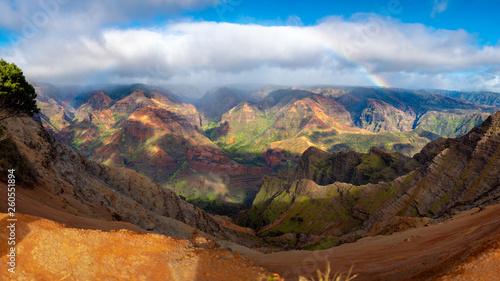 rainbow over Waimea Canyon, Kauai, Hawaii. Timelapse © mikola249