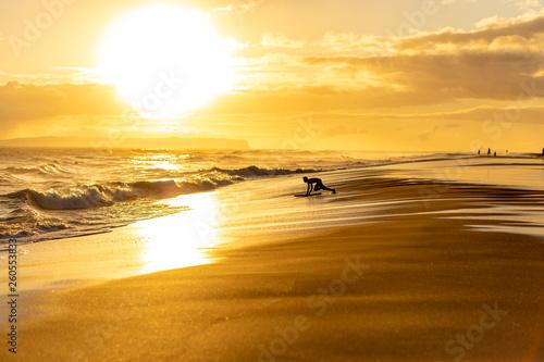 Sunset over tropical island beach, Hawaii, Kauai
