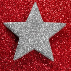 silver star red luminescent background