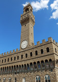 Old Palace and blue sky in Signoria square in Florence Italy