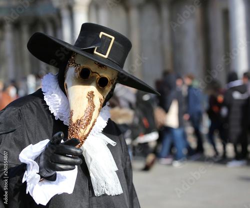 fototapeta na ścianę Venetian mask called Plague doctor with black hat