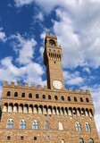 Florence Italy clock tower building called Palazzo Vecchio in th