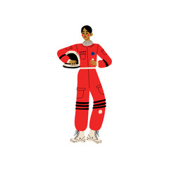 African American Woman Astronaut, Space woman Character in Spacesuit Vector Illustration