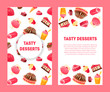 Delicious Desserts and Pastries Banners Set with Place for Text, Confectionery, Candy Shop Design Element Vector Illustration - 260557456