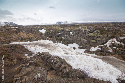 canvas print picture Pingvellir national park in winter Iceland