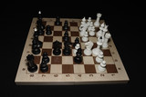 Chessboard with black pawns like a skill theme
