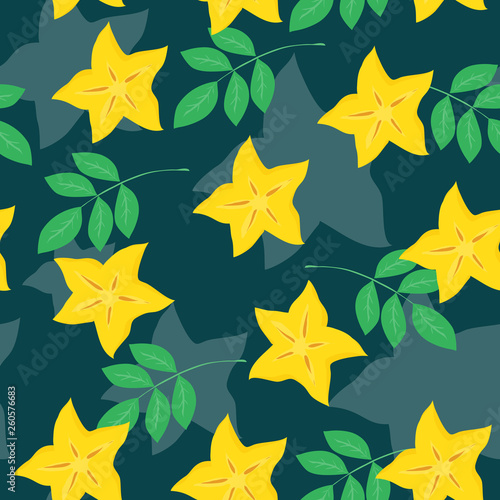 Vector seamless pattern with pieces of cannon and leaves on dark green backdrop. Colorful summer tropical background. Can be used for restaurant or cafe menu, design banners, wrapping paper, wallpaper © Kateryna