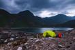 canvas print picture - stürmische Camping-Stimmung