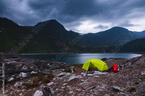 canvas print picture stürmische Camping-Stimmung