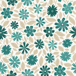 Blue flowers & beige leaves, floral seamless vector pattern - 260582674