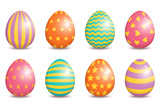 Set of realistic easter decorated eggs isolated on white background.