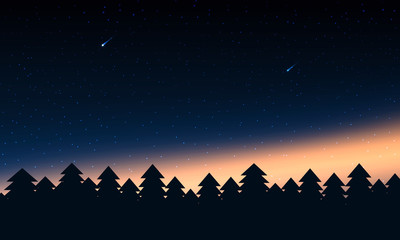 Forest silhouettes with aurora lights and star.